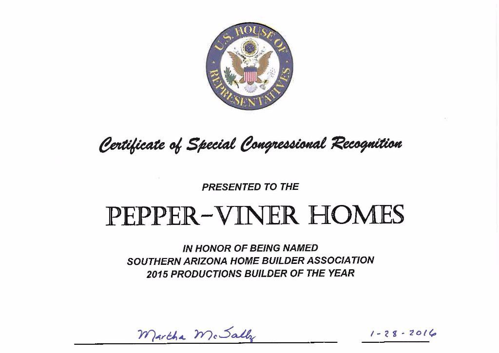 Congressional recognition  SAHBA 2015