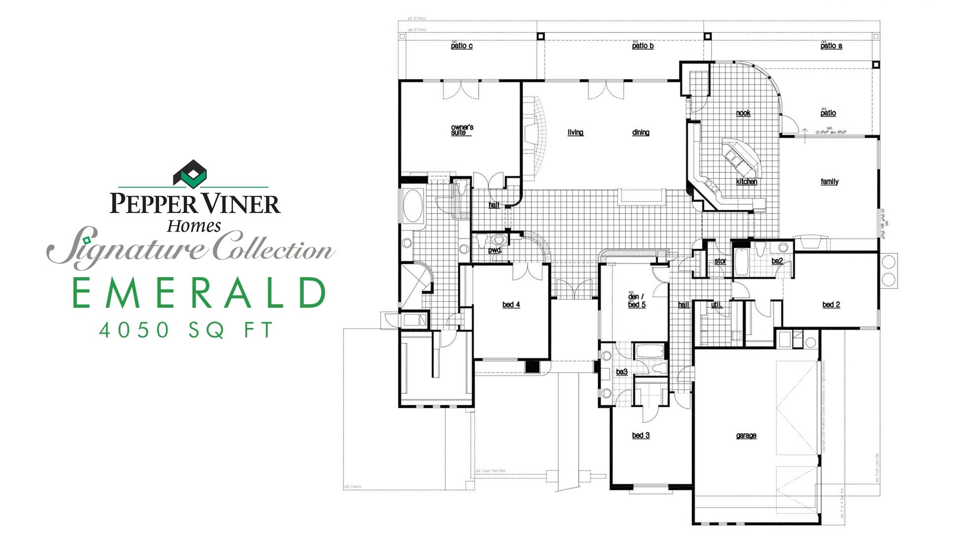 Custom Homes Floor Plans Pepper Viner Homes – Patio Homes Floor Plans